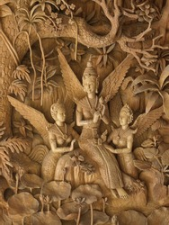angels, Wood carving in a thai temple.
