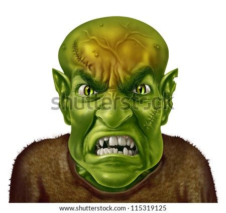 Anger Management concept with a green monster face mad scientist type of character screaming with an angry human expression expressing emotional stress from work or personal life.