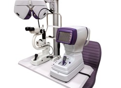 Angiography. Optical CT scan. Ophthalmology clinic equipment. Diagnosis of vision. Tomography in Optical Coherence (OCT) isolated on white