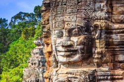 Angkor, Cambodia. Face tower at the Bayon Temple.