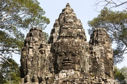 Angkor Thom Gate with Buddha Face in Angkor Wat, World Famous Khmer Buddhist Temple near Siem Reap, Cambodia
