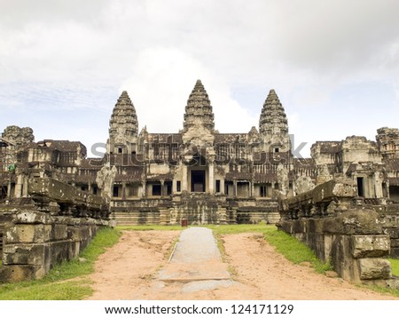 Angkor Wat from the East gate in Siem Reap, Cambodia, was inscribed on the UNESCO World Heritage List in 1992.