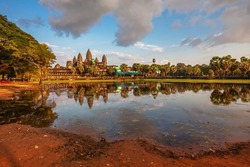 Angkor Wat in warm sunset light at Siem Reap. Cambodia