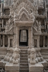 Angkor Wat replica in Wat Pra Kaew temple official name Wat Phra Si Rattana Satsadaram in the same area as Emerald Buddha is travel destination in Grand palace. Touring concept.