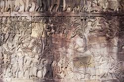 Angkor Wat stylized art of ancient Hindu god stone