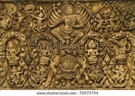 Angkor Wat stylized art of ancient Hindu god stone background wonder of the world