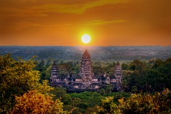 Angkor Wat Temple at sunset, Siem reap in Cambodia.