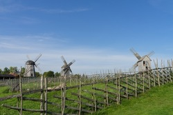 Angla Estonia - September 11 2021: Typical old wooden trestle and Dutch type windmills on a green meadow hill on island Saaremaa. Fence from the tree branches in front. Sunny early autumn day.