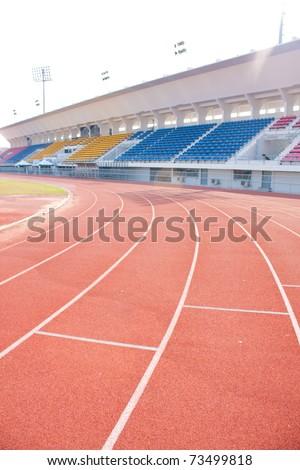 Angle curve of the athletics track. Ahead fantastic.