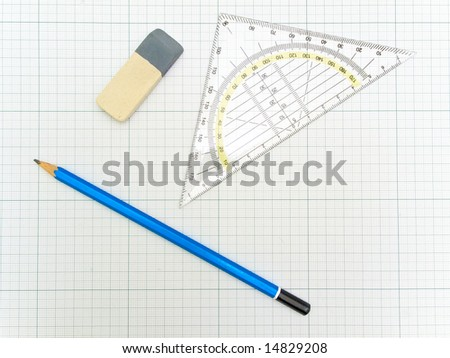 angle protractor, pencil and eraser at the plotting paper