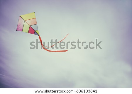angle view of a colorful kite...