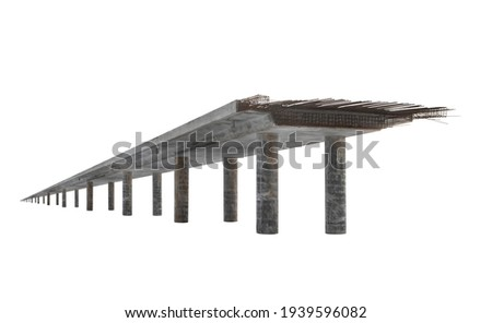 Angle view of an endless unfinished reinforced ferro concrete bridge with iron wire rods sticking out and many pillars in perspective isolated on white Foto stock ©