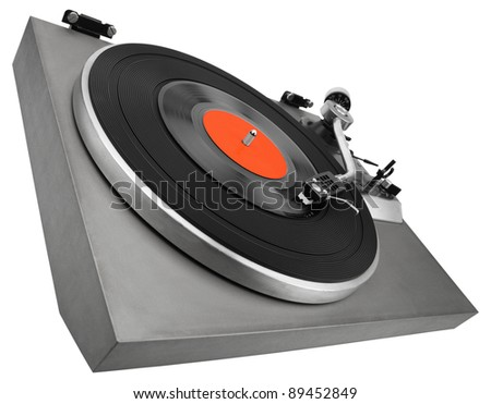 Angle view of vintage record player isolated on white with clipping path