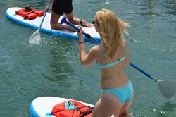 Angled overhead closeup of a young woman paddle boarder.