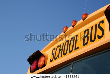 angled school bus with space for writing-front