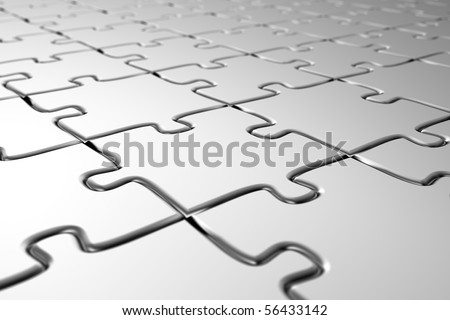 Angled view of a blank puzzle with shallow depth of field