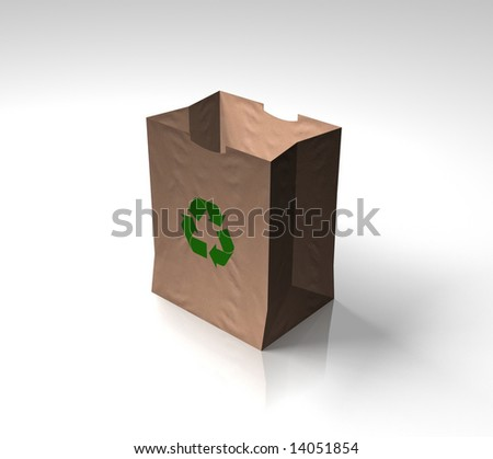 Angled view of recycled brown paper bag