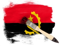 Angola. Angolan flag  painted with brush over it