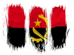 Angola. Angolan flag  painted with 3 vertical  brush strokes on white background