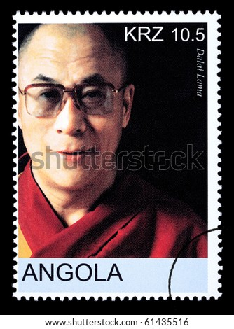 ANGOLA - CIRCA 2005: A postage stamp printed in Angola showing the Dalai Lama, circa 2005