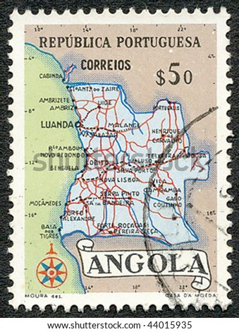 ANGOLA - CIRCA 1954: Stamp printed by the Portuguese administration showing the map of Angola, circa 1954