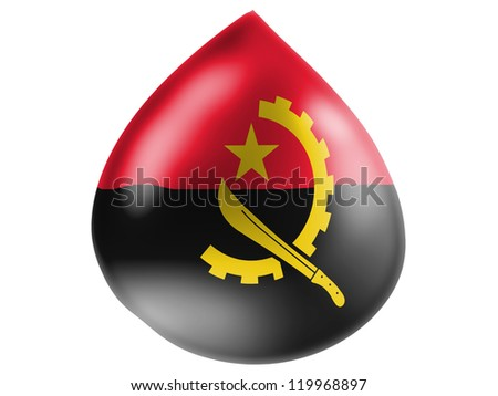 Angola flag painted on 3D water drop