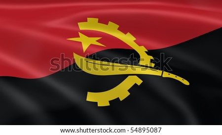 Angolan flag in the wind. Part of a series.