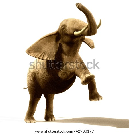 Angry and jumping elephant illustration