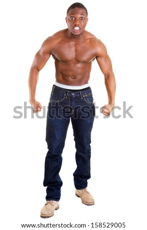 Angry black muscular man, isolated on white