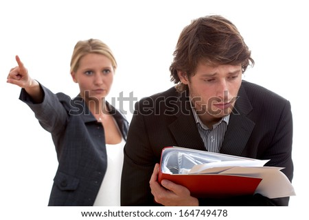 Angry boss and poor worker with heap of papers
