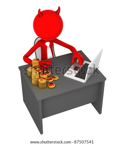 Angry Boss. Devil sitting at office desk. Isolated