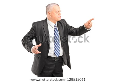 Angry boss having arguing and pointing with finger isolated on white background