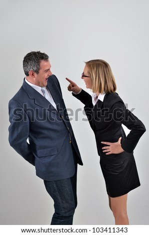 Angry boss shouting at her staff