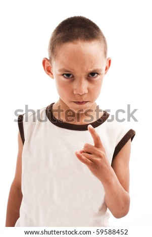 angry boy isolated on white