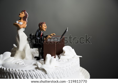 angry bride because her husband doesn't leave the computer alone.