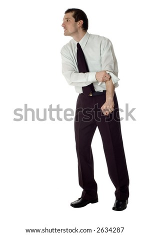 angry business men standing on white background