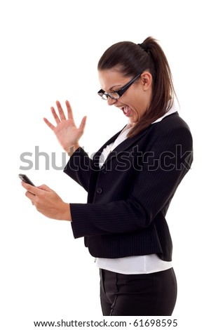 Angry business woman shouting to a mobile. Isolated on white