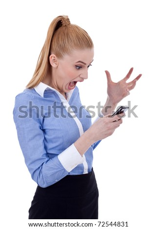 Angry business woman shouting to a mobile phone. Isolated on white
