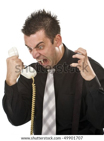 angry businessman screaming on the phone