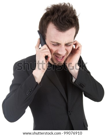 angry businessman shouting on his mobile, white background