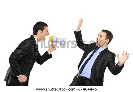 Angry businessman yelling via megaphone to another businessman isolated against white background