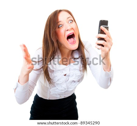Angry businesswoman screaming on a cell phone