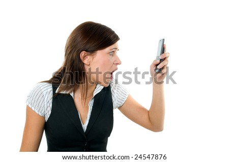 Angry businesswoman shouting to a mobile. Isolated on white
