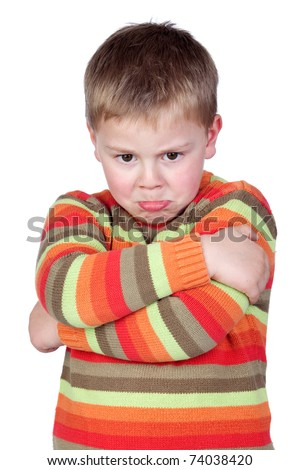 Angry child with crossed arm isolated on white background