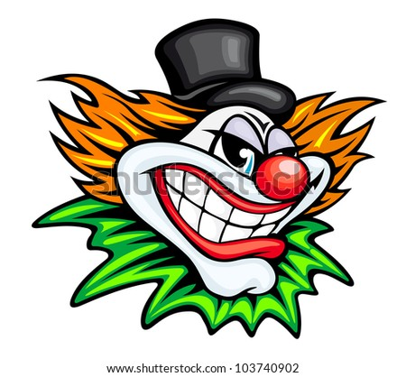 Angry circus clown or joker in cartoon style. Vector version also available in gallery