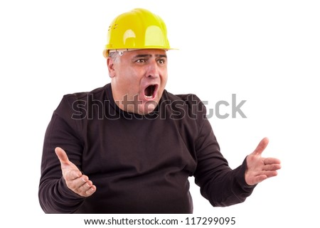 Unhappy Construction Worker Angry Construction Worker