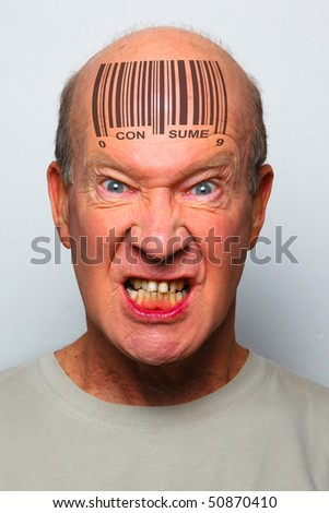 Angry consumer with a bar code on his forehead
