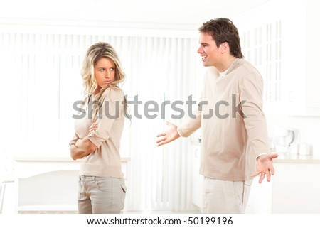 Angry couple at home. Divorce