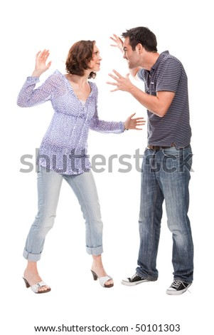 Angry couple yelling at each other  isolated over white background
