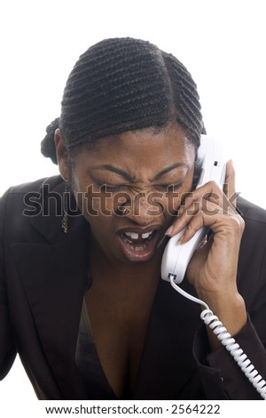 Angry Customer Service Rep On Telephone Pretty Black Woman ...
